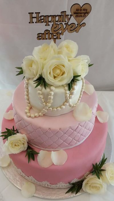 Pink quilted flowers three tier wedding cake - Quality Cake Company Tamworth