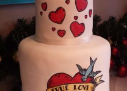 Heart tattoo modern wedding cake design - Quality Cake Company Tamworth