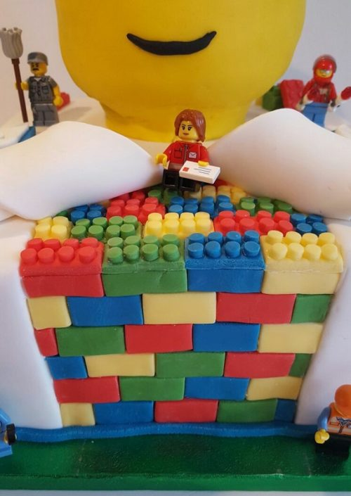 Lego reveal brick birthday cake - Quality Cake Company Tamworth