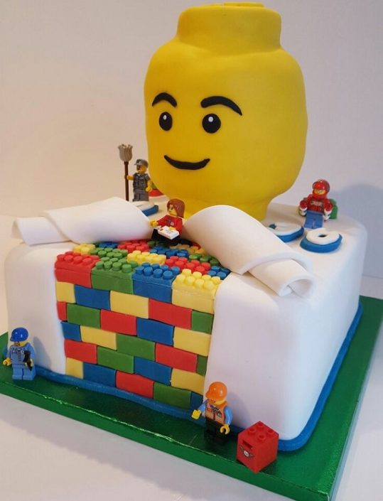 Lego brick reveal cake - Quality Cake Company Tamworth