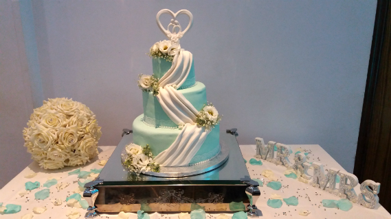 Blue Swag Wedding Cake