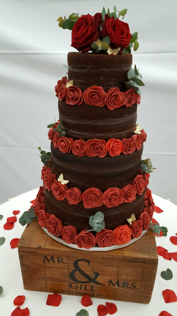 Chocolate Tiered Naked Wedding Cake With Handmade Roses Quality