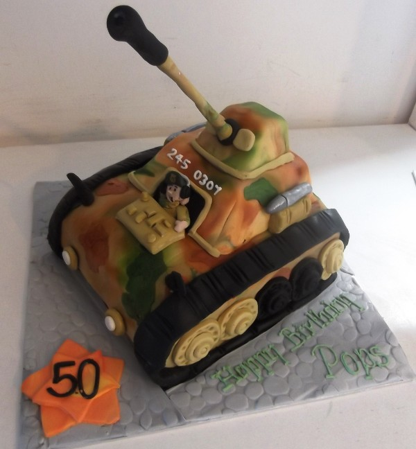 Tank sculpted novelty birthday cake - Quality Cake Company Tamworth