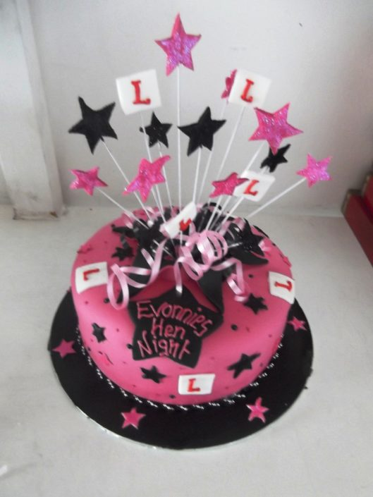 Pink hen party star burst cake - Quality Cake Company Tamworth