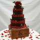 Nake chocolate wedding cake red roses - Quality Cake Company Tamworth