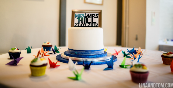 Star Wars rainbow reveal wedding cake - Quality Cake Company Tamworth
