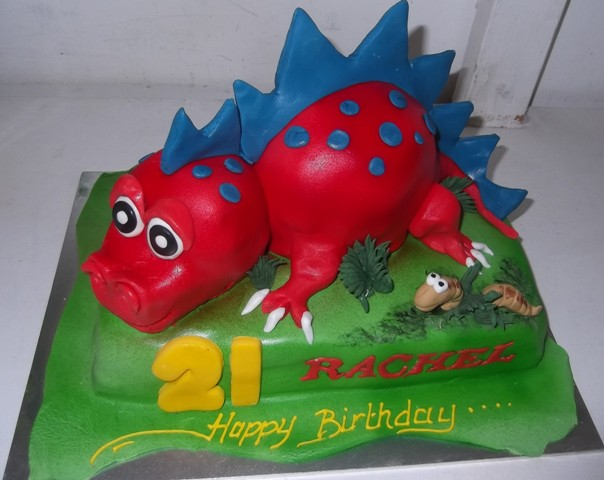 red blue dinosaur birthday cake - Quality Cake Company Tamworth