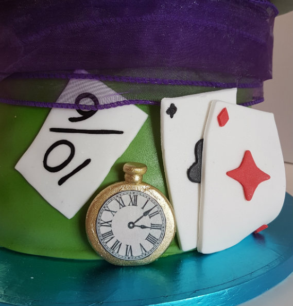 Mad Hatter birthday cake clock and cards - Quality Cake Company Tamworth
