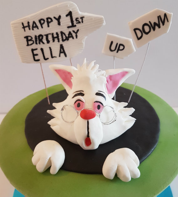 Mad Hatter birthday cake white rabbit - Quality Cake Company Tamworth
