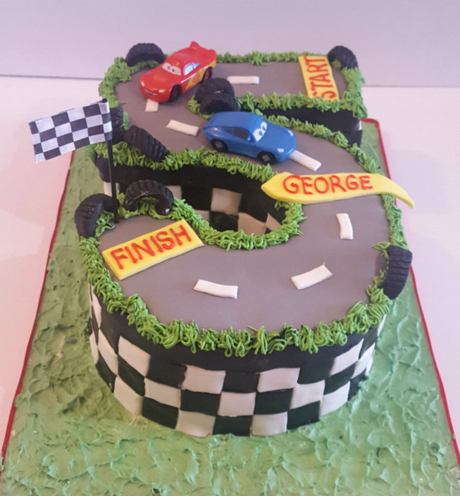 Five Shaped Racetrack Birthday Cake