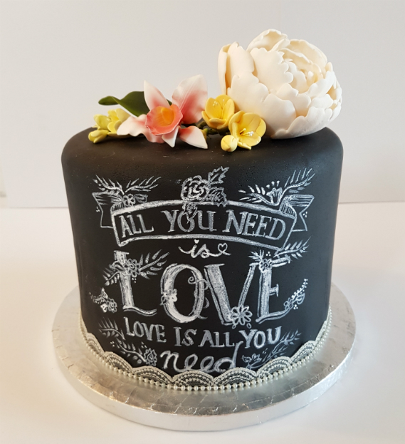Chalkboard modern wedding cake - tamworth west midlands