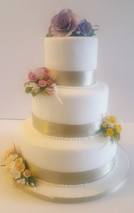 Three-tier simple floral wedding cake - tamworth west midlands