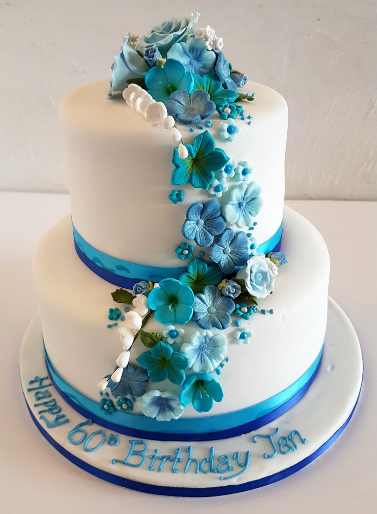 Two Tier Blue Flower Birthday Cake