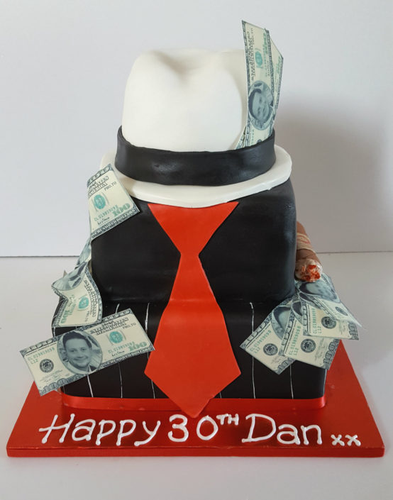 Gangster black cake with white hat