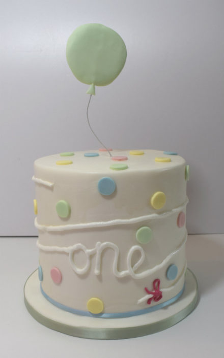 pastle modern one tall birthday cake