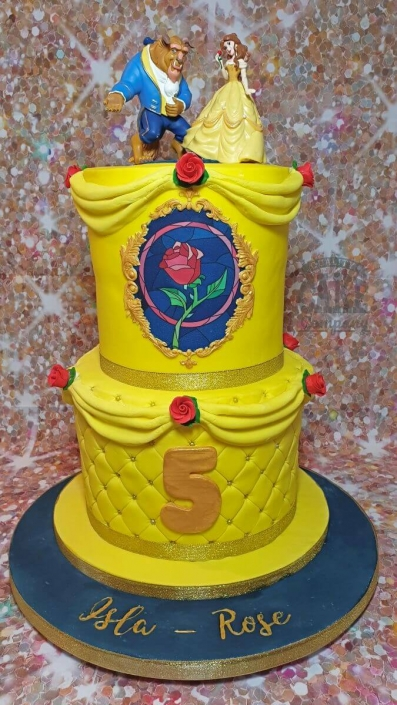 two-tier beauty and beast inspired birthday cake - Tamworth