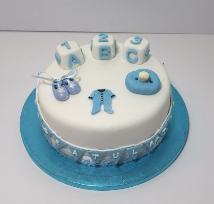 New baby boy congratulations cake