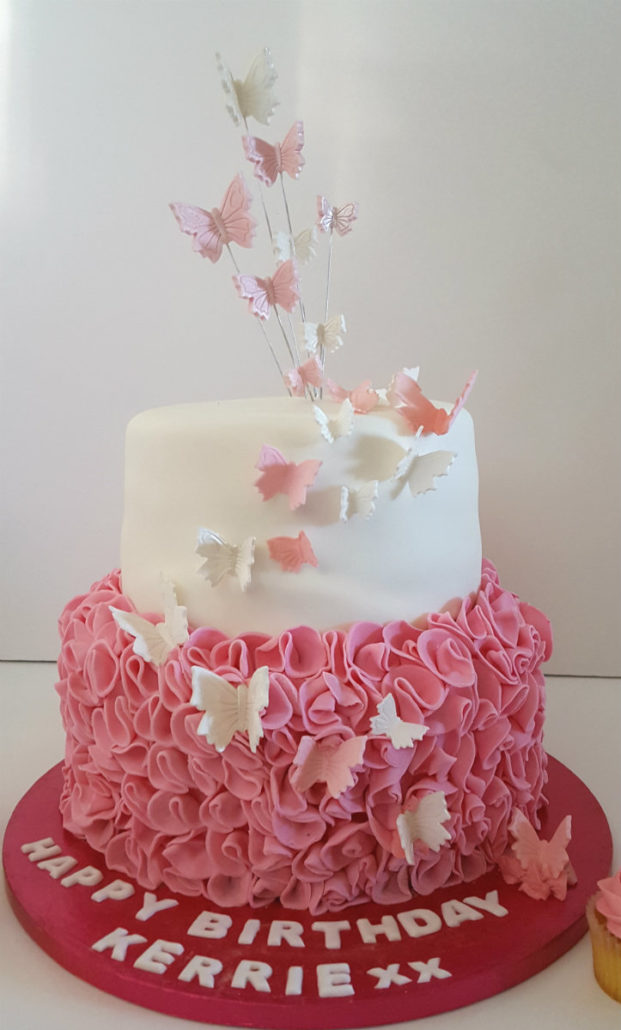 Two Tier Frill Butterfly Pink Cake Pastel Flower Birthday