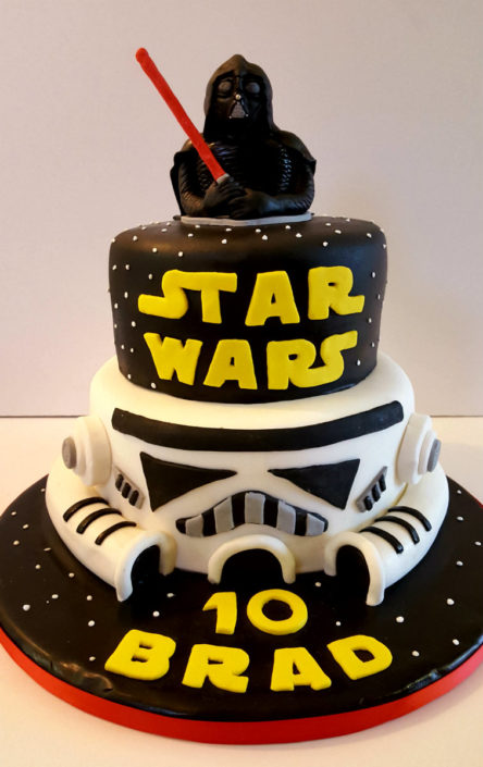 Two tier Star Wars theme cake