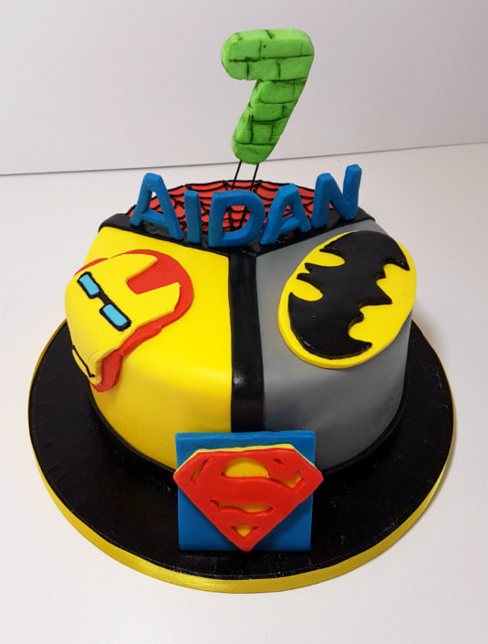 Superhero segments cake