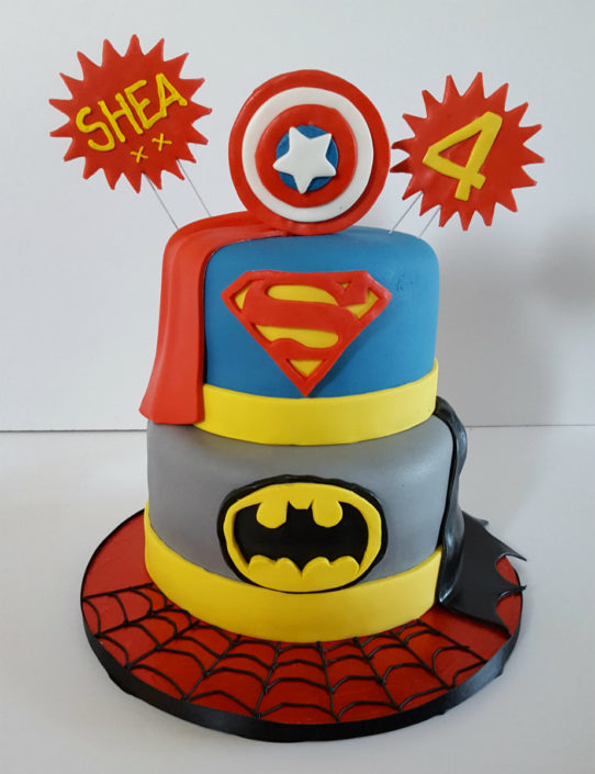 Two tier superhero birthday cake