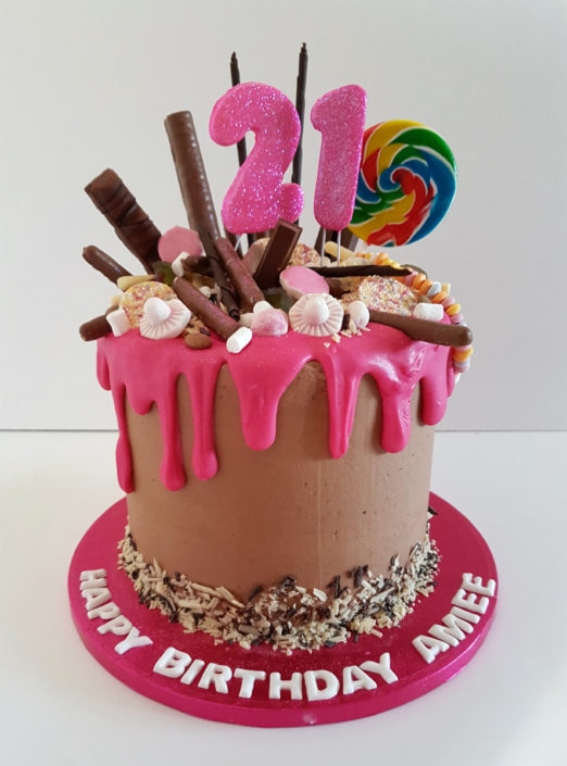 Chocolate pink sweetie drip birthday cake