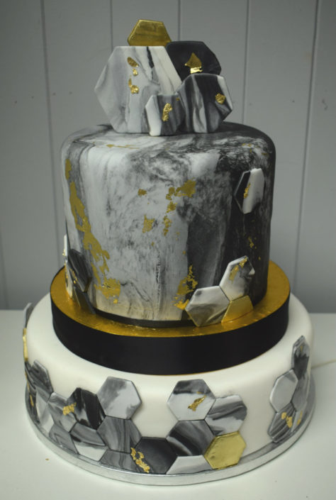 two Tier Hexagon Grey Marble geometric modern wedding cake - tamworth west midlands
