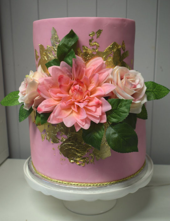 2 Tier Pink & Gold Flower wedding cake