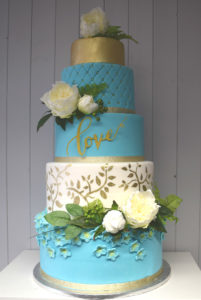 5 Tier Teal, White & Gold wedding cake
