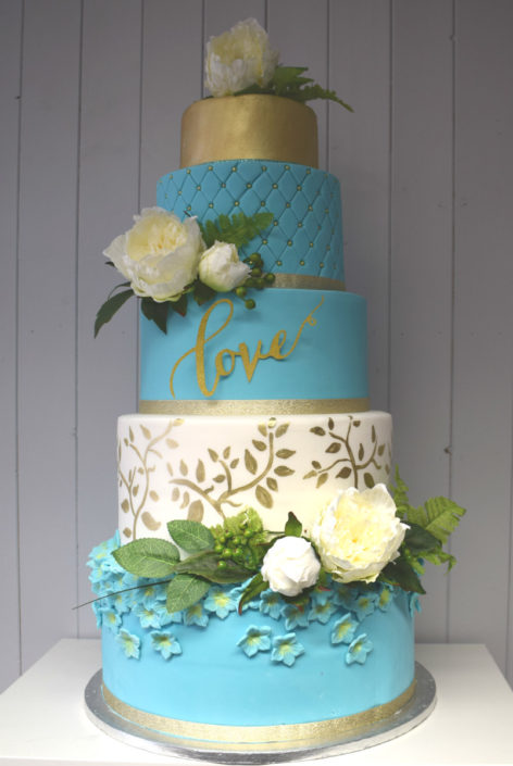 Five Tier Teal, White & Gold modern colourful wedding cake