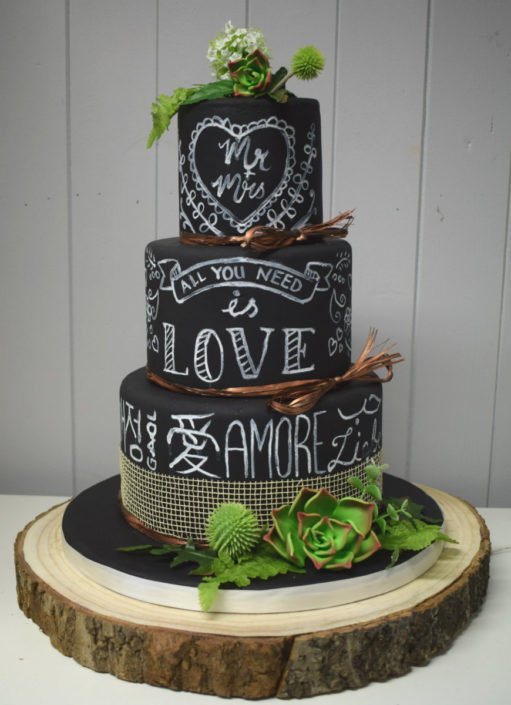 Chalkboard Love Languages and succulents wedding cake