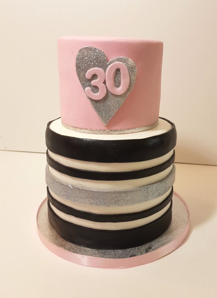 Pink Black White Stripes Birthday Cake