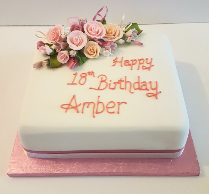 White pink flowers adult birthday cake