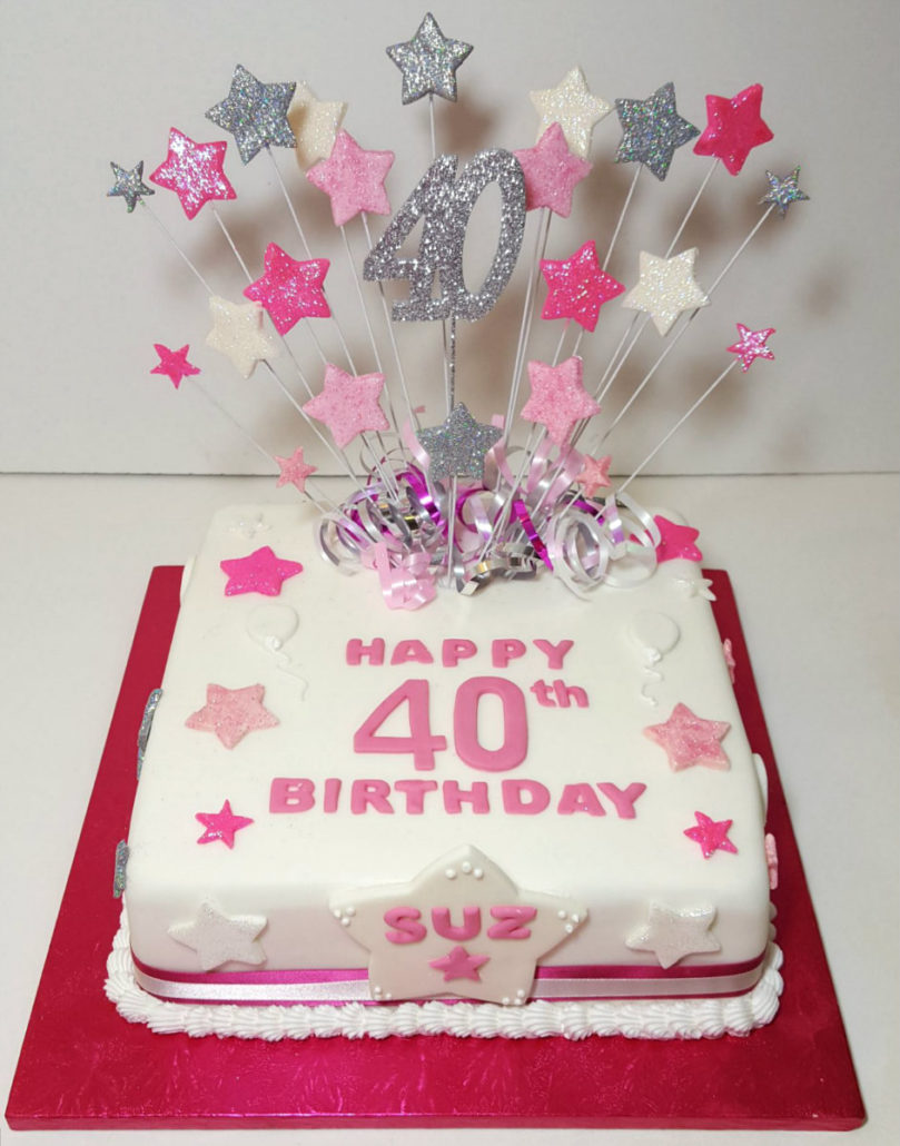 Bright Pink Star Spray Cake