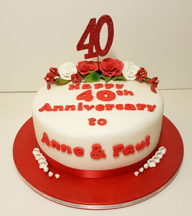 40th ruby anniversary celebration cake tamworth