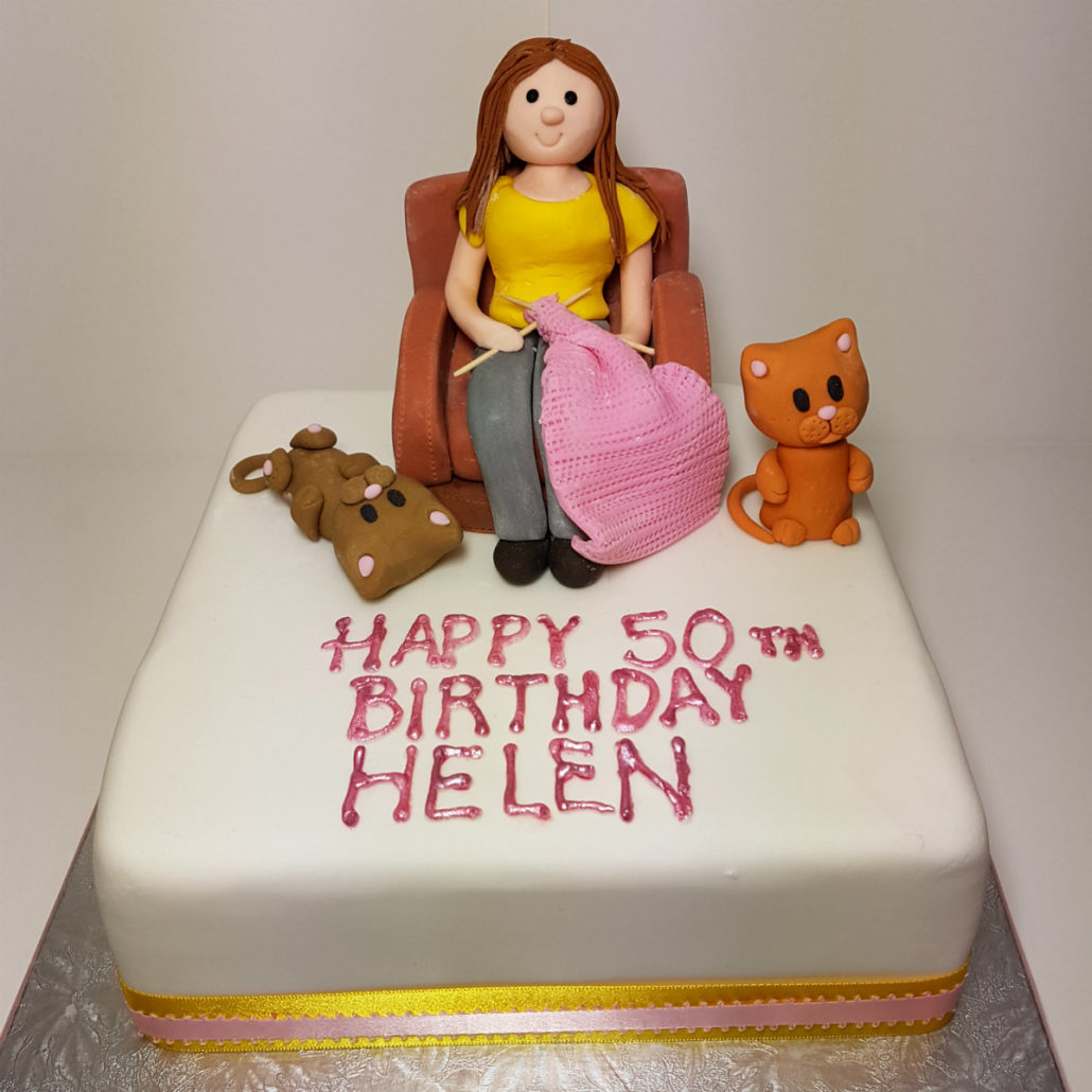 Knitting Lady With Cats Cake