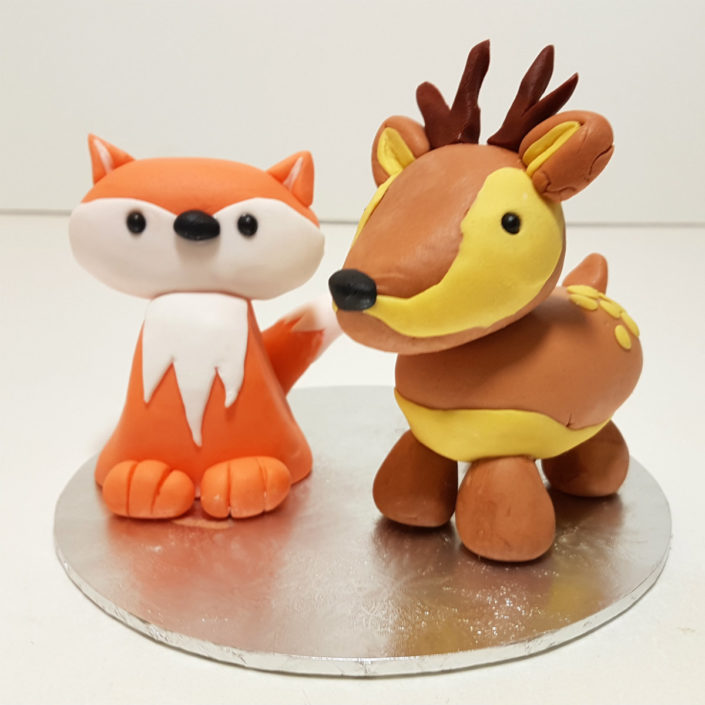 Fox & Deer cake toppers Tamworth