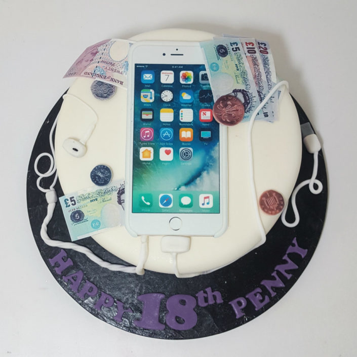 iphone and money birthday cake tamworth