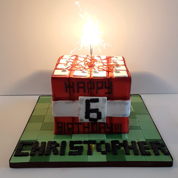 Minecraft themed dynamite cake
