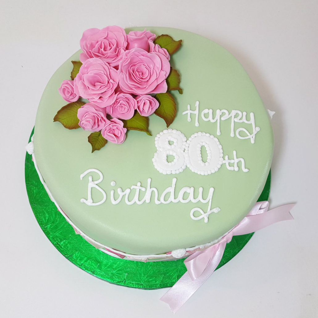 Pink And Green Flowers Cake