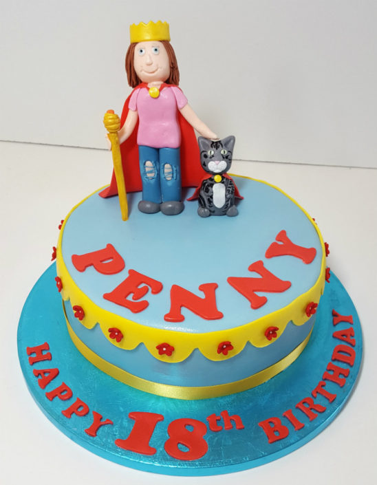 lady and cat simple birthday cake tamworth