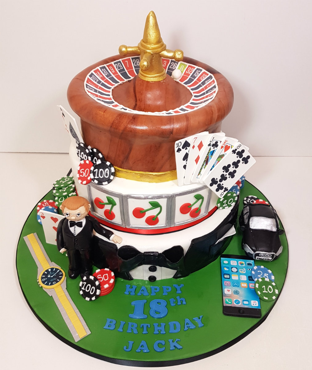 Casino Themed Roulette Table Birthday Cake