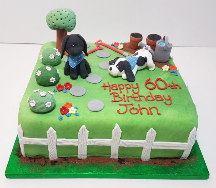 two dogs in the garden birthday cake - Tamworth