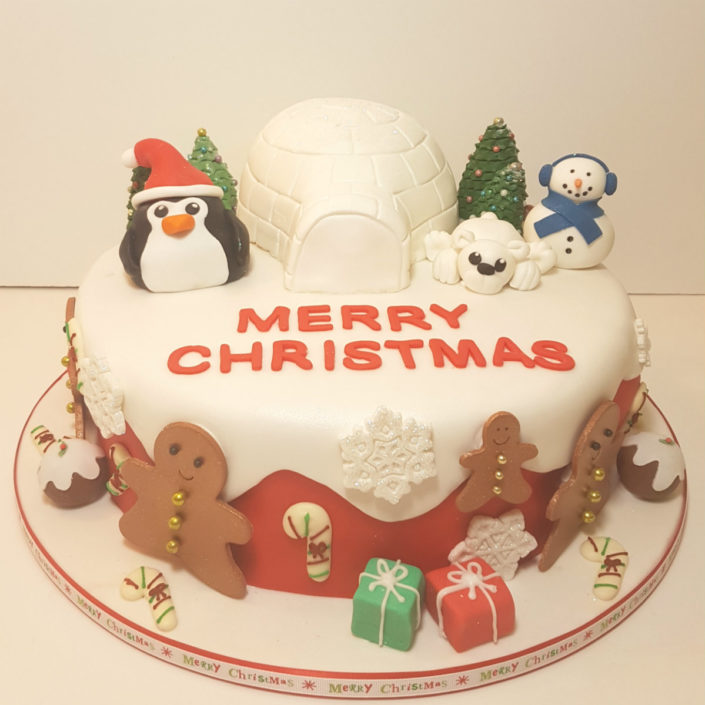 Igloo & penguin Christmas cake - Tamworth
