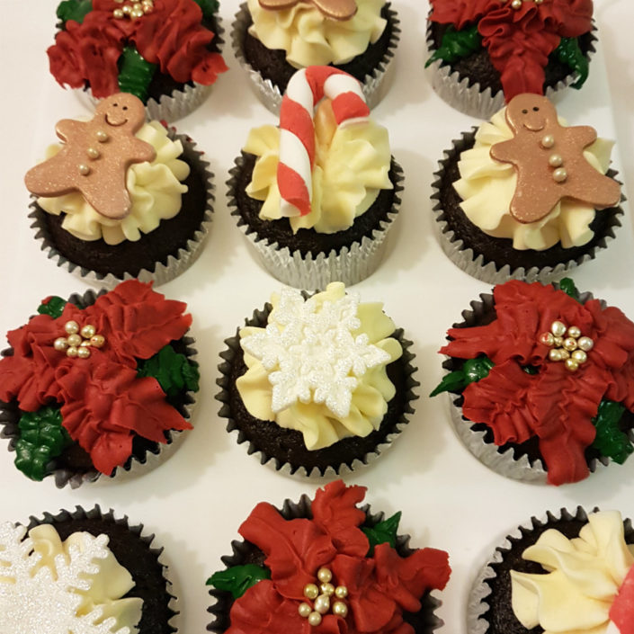 Christmas cupcakes gingerbread pointsettia candy cane - Tamworth