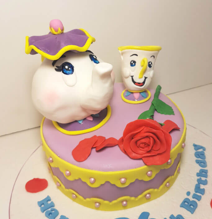 Mrs Potts & Chip birthday cake topper