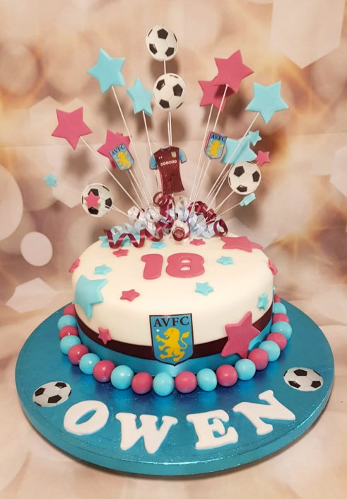 AVFC star spray birthday cake - tamworth