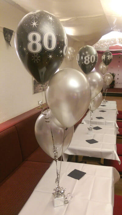 80th birthday silver & black balloon spray tamworth