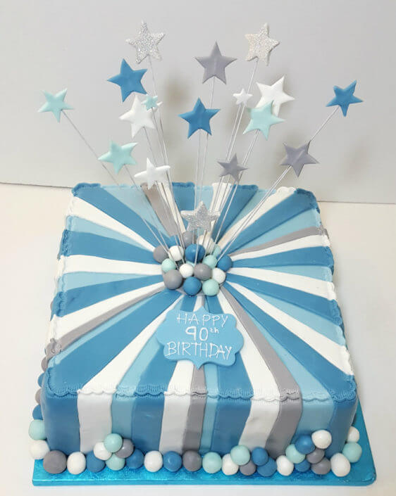 Blue and silver stipe star spray birthday cake - tamworth