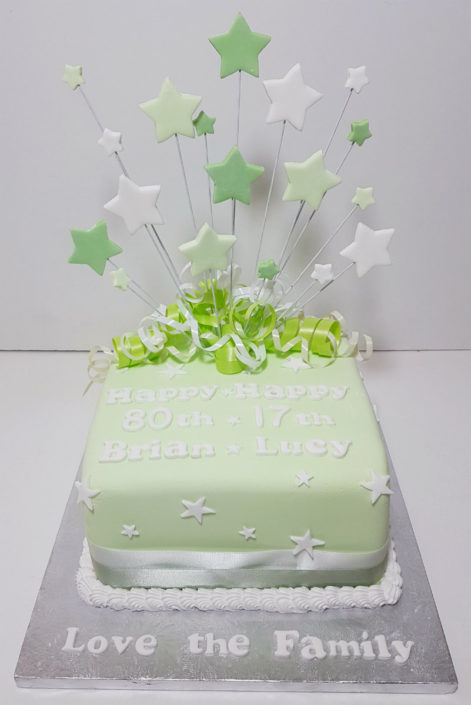 green and white star spray joint birthday - tamworth